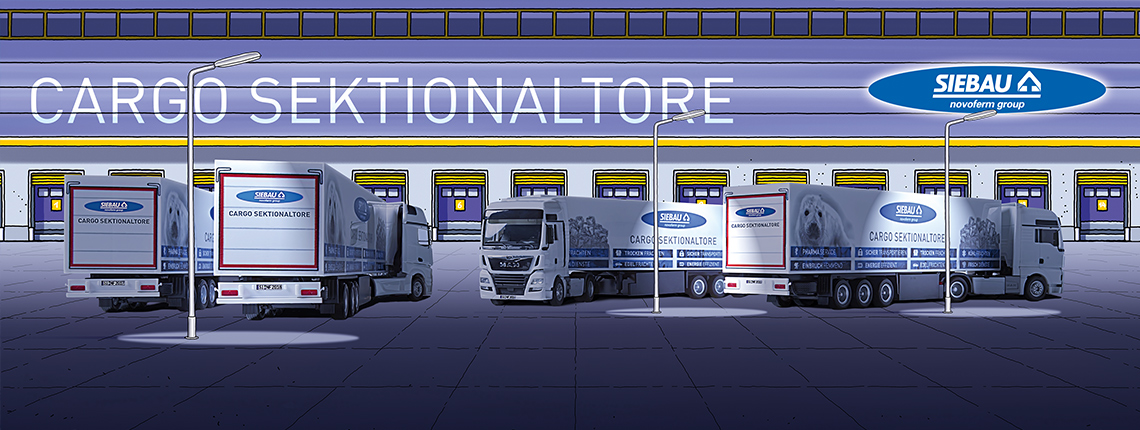 Illustration Halle mit Novoferm-Siebau-LKW